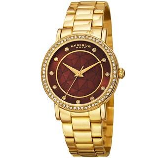 Akribos XXIV Women's Mosaic Printed Dial Quartz Crystal-Accented Gold-Tone Bracelet Watch - brown