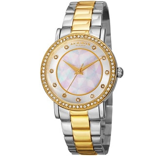 Akribos XXIV Women's Mosaic Printed Dial Quartz Crystal-Accented Two-Tone Bracelet Watch