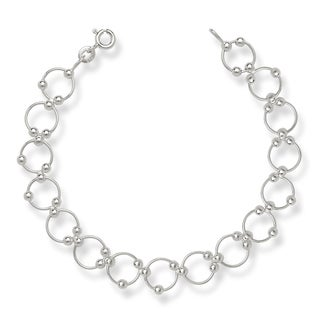 Sterling Silver Modern Moveable Bead Circle 7-inch Bracelet