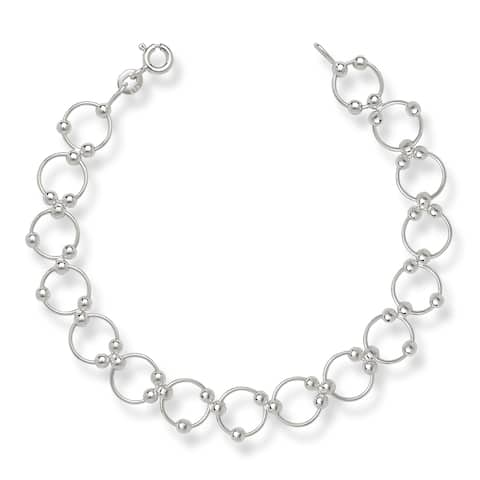 Sterling Silver Modern Moveable Bead Circle 7-inch Bracelet - White