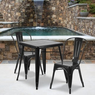 23.75'' Square Metal Indoor-Outdoor Table Set with 2 Stack Chairs