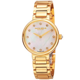 Akribos XXIV Women's Quartz Mother of Pearl Diamond Gold-Tone Bracelet Watch