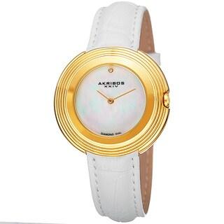 Akribos XXIV Women's Quartz Diamond Leather White Strap Watch
