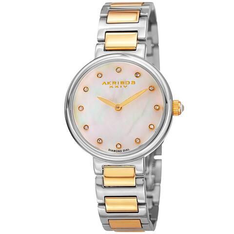 Akribos XXIV Women's Quartz Mother of Pearl Diamond Two-Tone Bracelet Watch