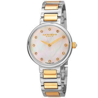 Akribos XXIV Women's Quartz Mother of Pearl Diamond Two-Tone Bracelet Watch