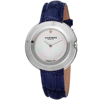 Akribos XXIV Women's Quartz Diamond Leather Silver-Tone Strap Watch