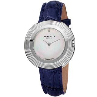 Akribos XXIV Women's Quartz Diamond Leather Silver-Tone Strap Watch with FREE Bangle - BLue