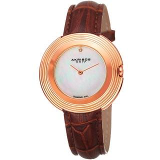 Akribos XXIV Women's Quartz Diamond Leather Rose-Tone Strap Watch