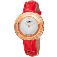 Akribos XXIV Women's Quartz Diamond Leather Red Strap Watch
