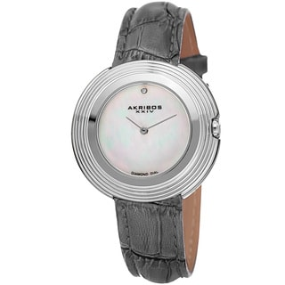 Akribos XXIV Women's Quartz Diamond Leather Grey Strap Watch