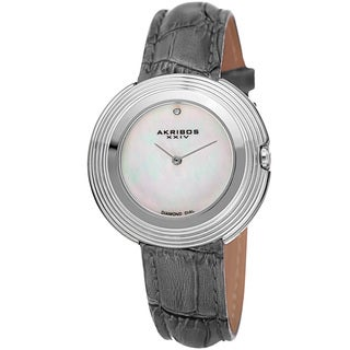 Akribos XXIV Women's Quartz Diamond Leather Grey Strap Watch with FREE Bangle