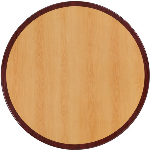 30 Inch Round Two Tone Resin Cherry And Mahogany Table Top