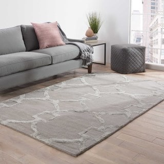 Hand-Tufted Contemporary Geometric Pattern Grey (10' x 14') Area Rug