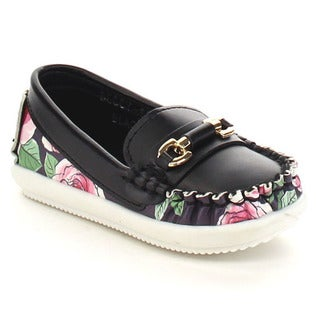 VIA PINKY BECCY-63B Children Girl Slide On Moccasin Top Flat Loafers