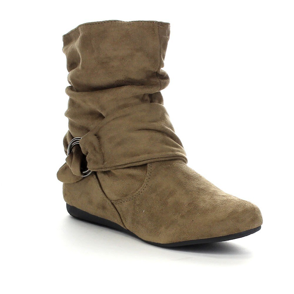 Beston Forever GA43 Women's Fashion Calf Flat Heel Side Z...