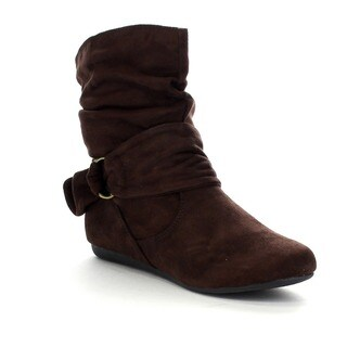 FOREVER GA43 Women's Fashion Calf Flat Heel Side Zipper Slouch Ankle Boots