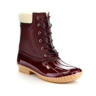 FOREVER FEW22 Women's Fashion Pull-On Faux Fur Waterproof Lace Up Duck Boots