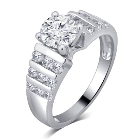 Divina Sterling Silver 2ct White Sapphire Diamond Accent Engagement Ring