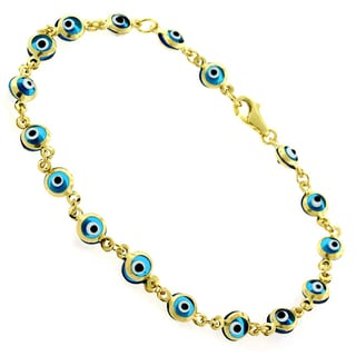 14k Yellow Gold Childrens 4mm Baby Blue Evil Eye Good Luck Bracelet