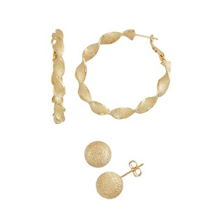14k Yellow Gold Twisted Hoop Earrings and Textured Stud Earrings Set