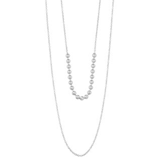 Argento Italia Sterling Silver Diamond-cut Beads on Layered Necklace