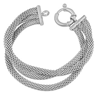 Argento Italia Rhodium Plated Sterling Silver Three Row Cage Link Bracelet (7.5 inches)