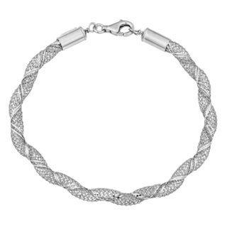 Argento Italia Rhodium Plated Sterling Silver Twisted Mesh Bracelet (7.75 inches)