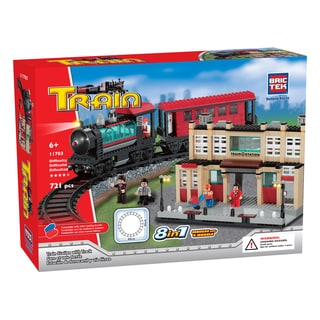 Brictek 8-in-1 Train Station with Track