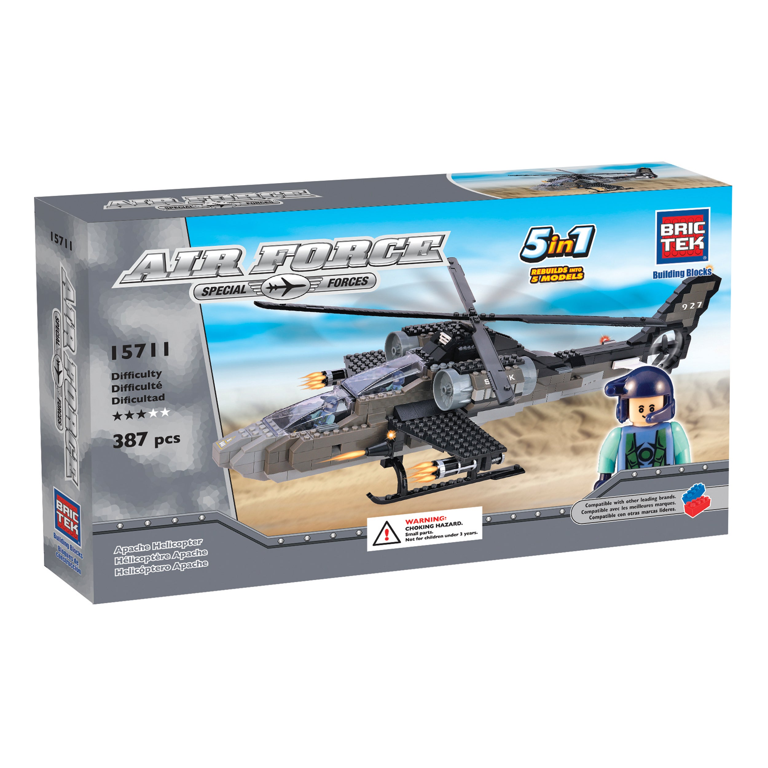 Brictek 5-in-1 Air Force Apache Helicopter (1), Multi