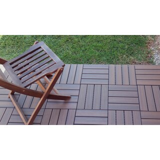 SuperWood Deck Tiles 11 sq. ft. Composite Walnut, Snap To Install, No Maintenance Deck Tiles (Pack of 11)