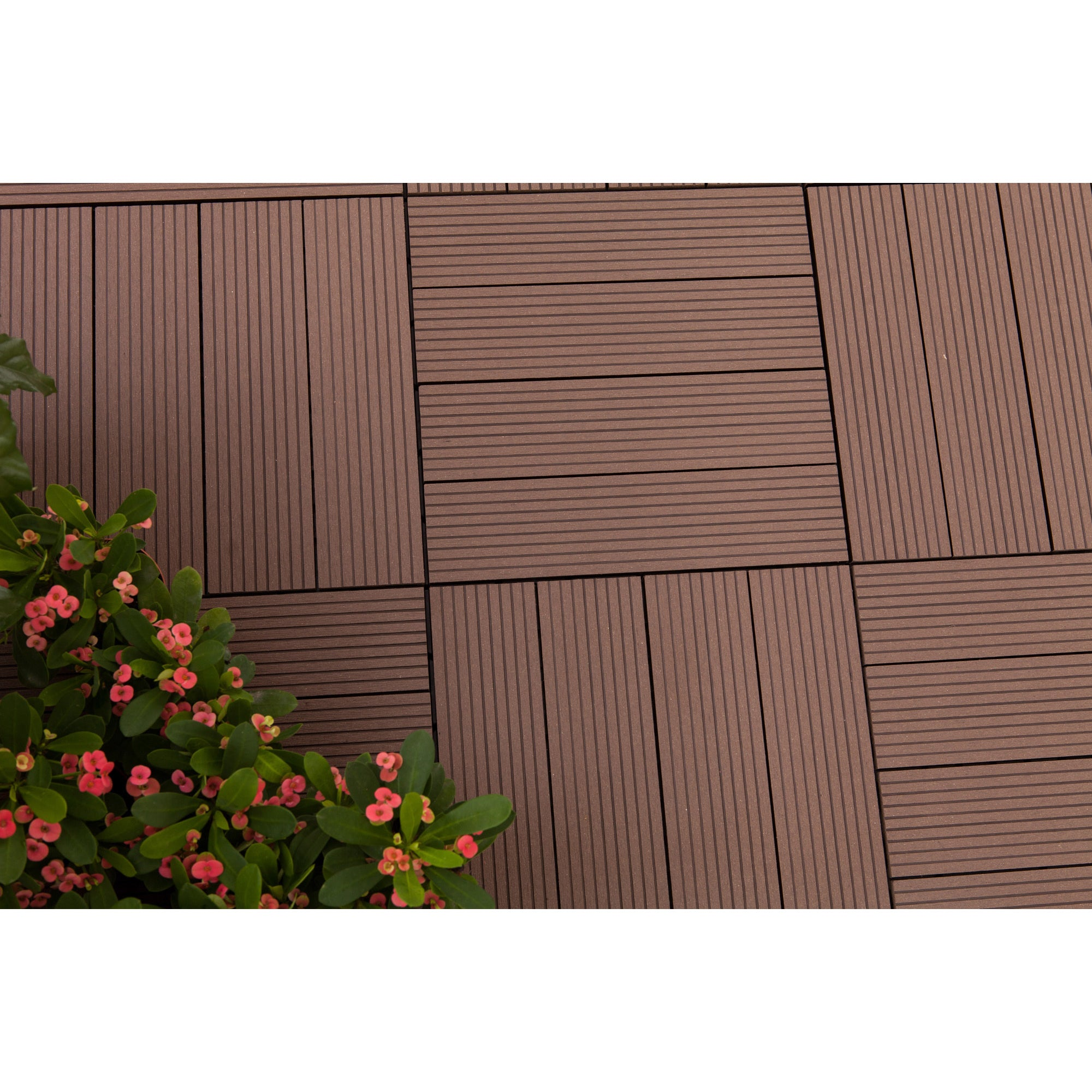 Vifah MetaWood Deck Tiles, Composite Ipe, Snap To Install...