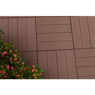 MetaWood Deck Tiles, Composite Ipe, Snap To Install, No Maintenance (Box of 11 tiles / sqft)