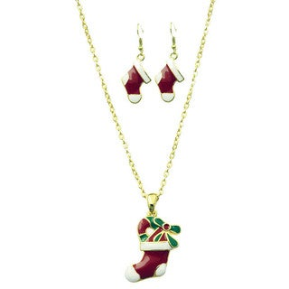 Christmas Stocking Pendant Necklace and Stocking Earrings Set