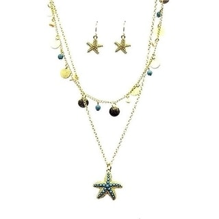 26 inch Starfish Layered Necklace and Earring Set - turquoise