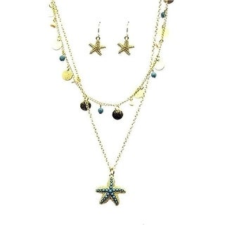 26 inch Starfish Layered Necklace and Earring Set
