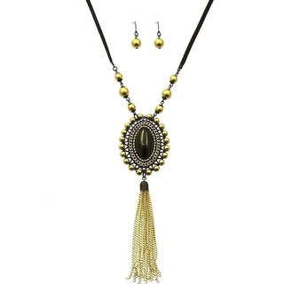 Vintage Oval Pendant Gold Tassel Necklace and Earring Set