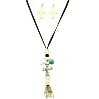 Tribal Goldtone Cross Charm 28-inch Necklace and Earrings Set - turquoise