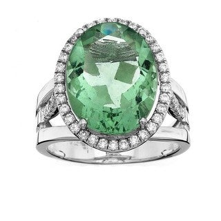 Isla Simone Platinum-plated Sterling Silver Oval Gemstone Ring