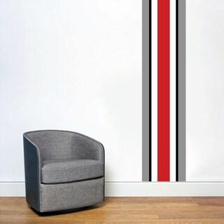 Ohio Red Black Gray Stripe Wall Decal