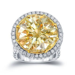 Auriya 18k Two-Tone Gold 22 1/ 2ct TDW Certified Yellow Diamond Halo Ring (E-F, VVS1-VVS2)