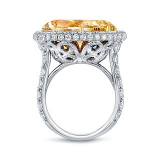 Auriya 18k Two-Tone Gold 22 1/ 2ct TDW Certified Yellow Diamond Halo Ring (E-F, VVS1-VVS2)