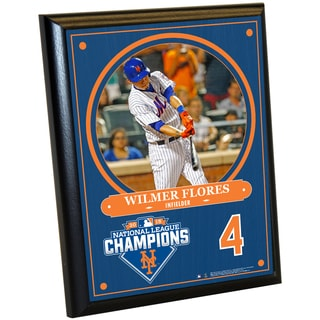 New York Mets 2015 National League Champions Wilmer Flores 8x10 Plaque w/ Game Used Dirt from Citi Field
