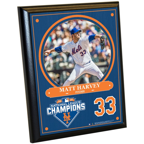 New York Mets 2015 National League Champions Matt Harvey 8x10 Plaque with Game Used Dirt from Citi Field