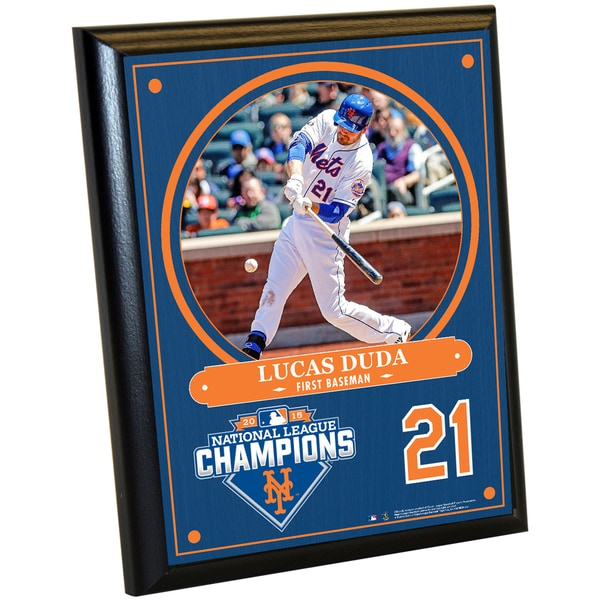 New York Mets 2015 National League Champions Lucas Duda 8x10 Plaque w/ Game Used Dirt from Citi Field