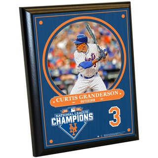 New York Mets 2015 National League Champions Curtis Granderson 8x10 Plaque w/ Game Used Dirt from Citi Field