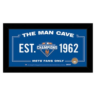 New York Mets 2015 National League Champions 10x20 Man Cave Sign Framed Collage w/ Game Used Dirt from Citi Field