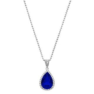 Isla Simone Fine Jewelry Platinum Plated Sterling Silver Tear Drop Cut CZ Necklace (More options available)