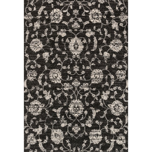 Transitional Black/ Grey Floral Rug - 9'2 x 12'7