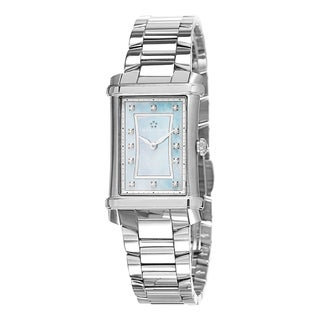 Eterna Women's 2410.41.87.0264 'Contessa' Blue Mother of Pearl Diamond Dial Stainless Steel Swiss Qu