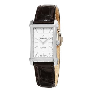 Eterna Women's 2410.41.61.1199 'Contessa' White/Silver Dial Brown Leather Strap Swiss Quartz Watch|https://ak1.ostkcdn.com/images/products/10759823/P17812620.jpg?impolicy=medium
